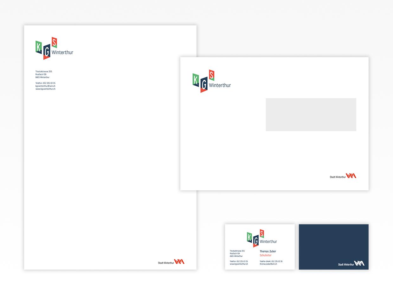 Briefpapier, Kuvert, Visitenkarte KGS Winterthur