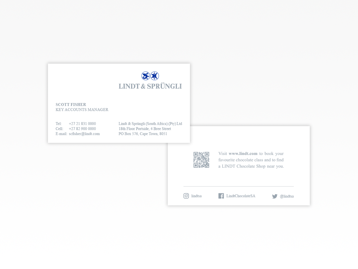Design and production of business cards for Lindt and Spruengli