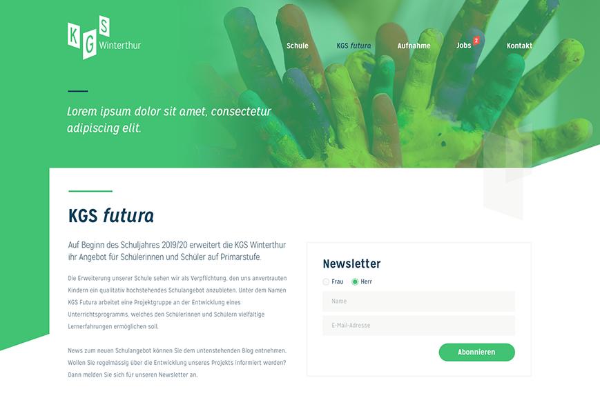 KGS Winterthur, Webdesign, KGS futura